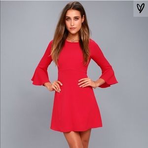 Lulus Red Flounce Sleeve Dress